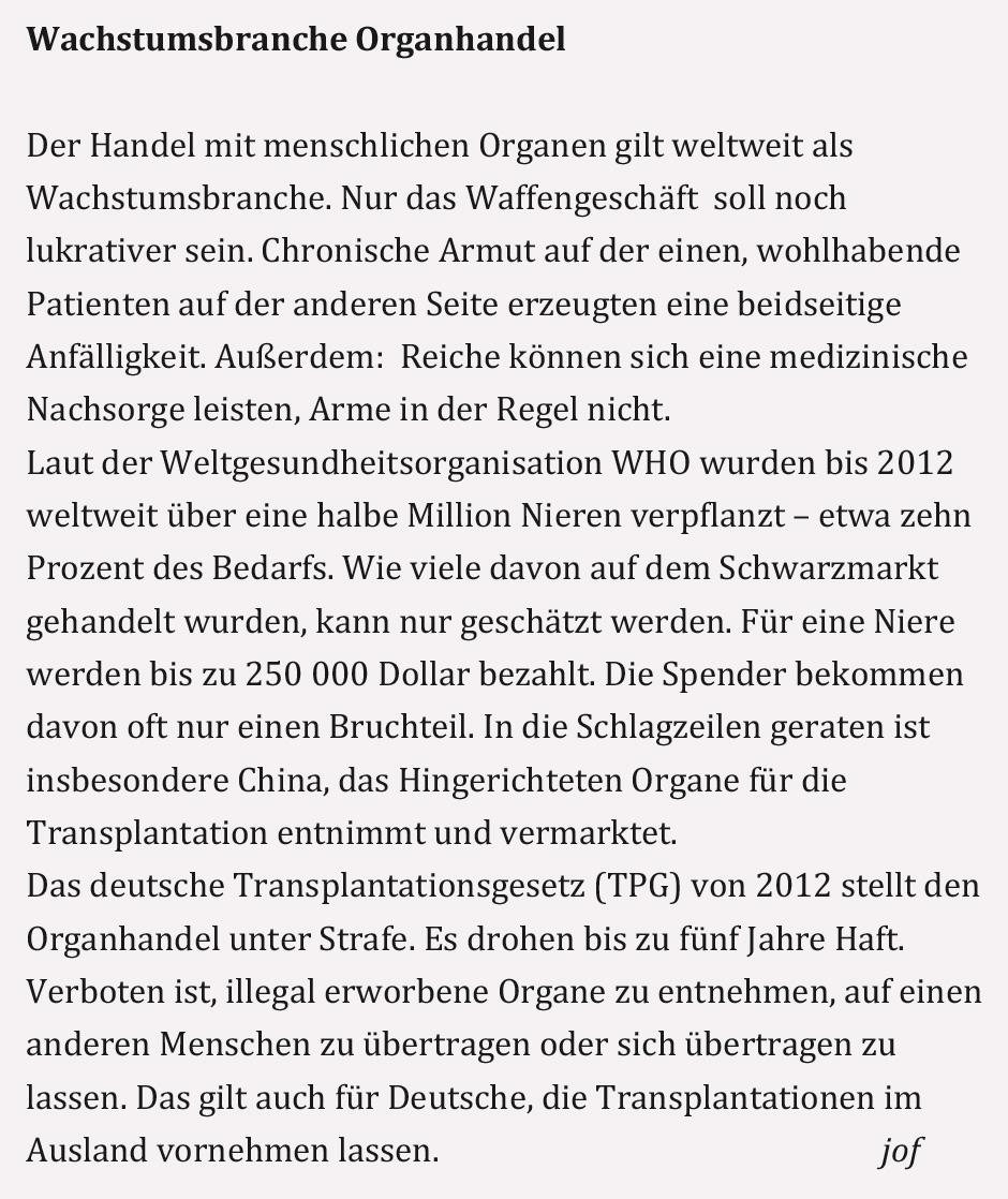 KONTEXT:Wochenzeitung - Ausgabe 200 - Niere oder Tod